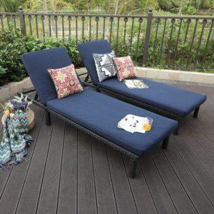 2 Piece Rattan Wicker Outdoor Chaise