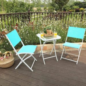 3 Pcs Outdoor Textilene Folding Bistro