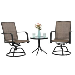 3 Piece Swivel Chairs Set