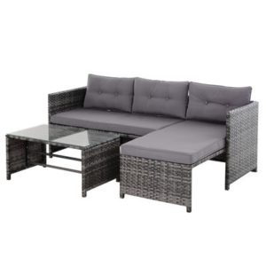 3 pc Wicker Rattan Furniture Set w/Luxurious