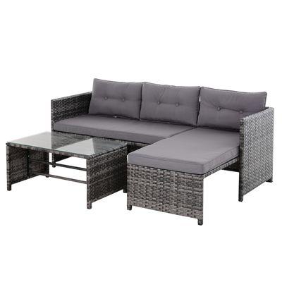 3 pc Wicker Rattan Furniture Set w/Luxurious