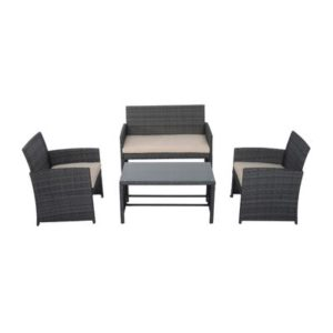 4 Piece Cushioned Outdoor Rattan Wicker
