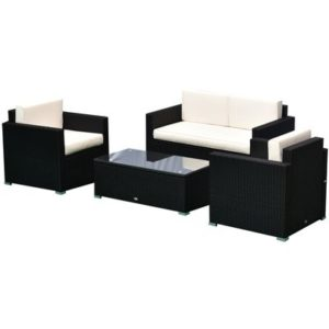 4-Piece Cushioned Rattan Wicker Patio Furniture
