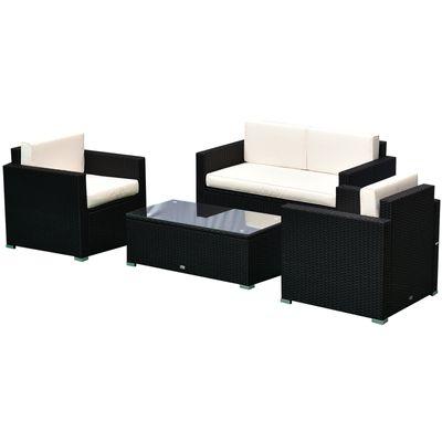 4-Piece Cushioned Rattan Wicker Patio Furniture
