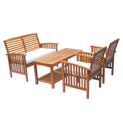 4 Piece Outdoor Acacia Wood Loveseat