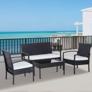 4 Piece Outdoor Patio Armchair Brown