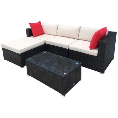 5-Piece Deluxe Outdoor Patio Rattan Furniture