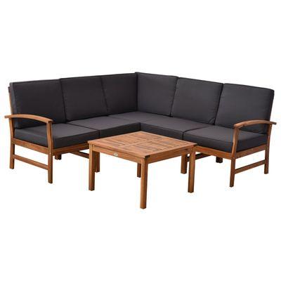 6 Piece Acacia Wood Sectional Sofa
