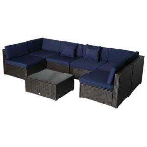 7 Piece Modern Rattan Wicker Blue