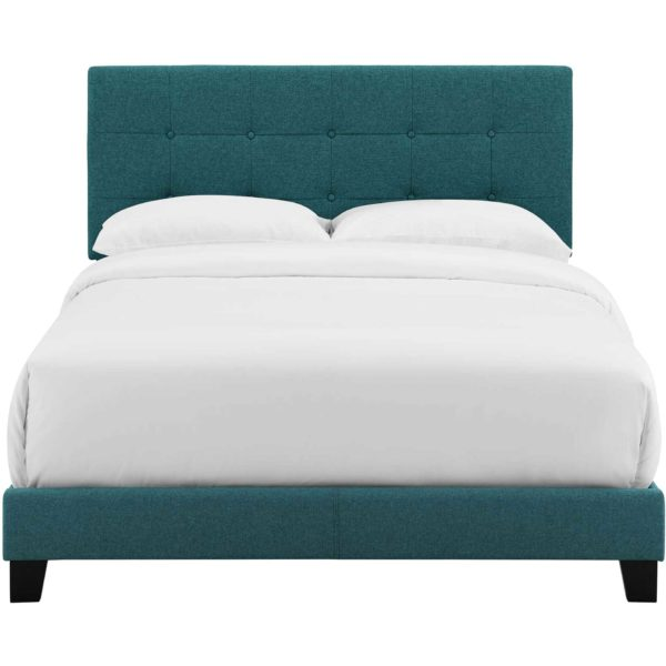 Adriane Upholstered Fabric Bed Teal