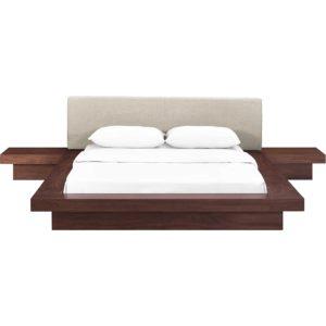 Freyja 3 Piece Fabric Bed Walnut/Beige
