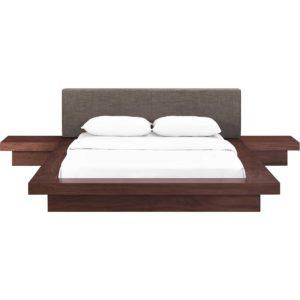 Freyja 3 Piece Fabric Bed Walnut/Brown