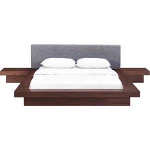 Freyja 3 Piece Fabric Bed Walnut/Gray