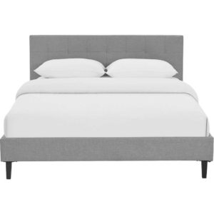 Lester Fabric Bed Light Gray
