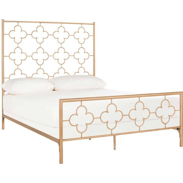 Moon Lattice Metal Bed Antique Gold
