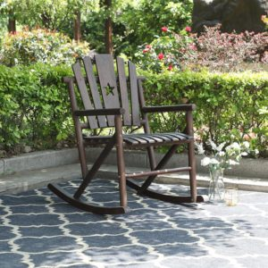 Outdoor Acacia Wood Rocking Chair Rustic