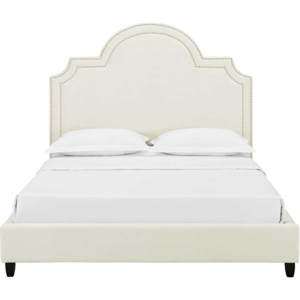 Patrick Velvet Platform Bed Ivory