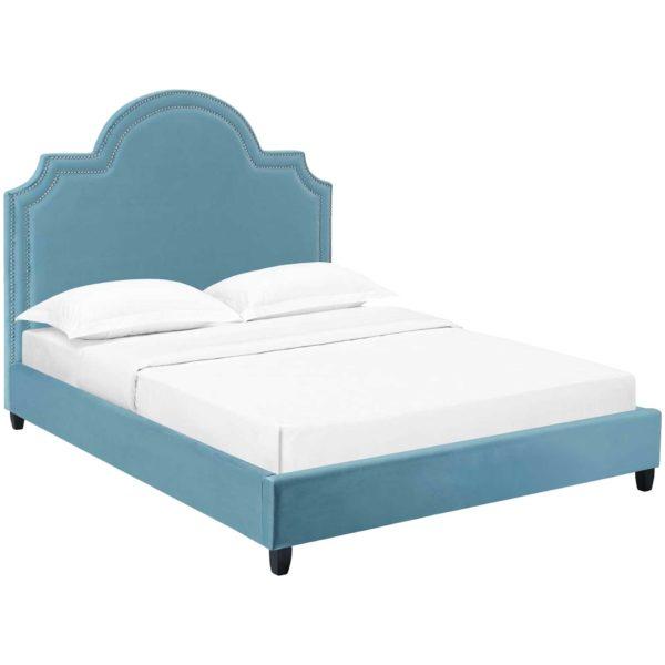Patrick Velvet Platform Bed Sea Blue