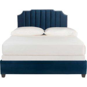 Starburst Upholstered Velvet Bed Navy
