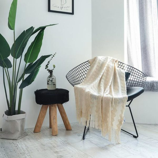 Throw Blanket with Fringe for