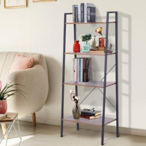 HOMCOM 4-Tier Vintage Ladder Shelf Bookcase Storage