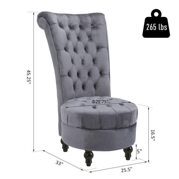 "HOMCOM 45"" High Back Tufted Chair Elegant"