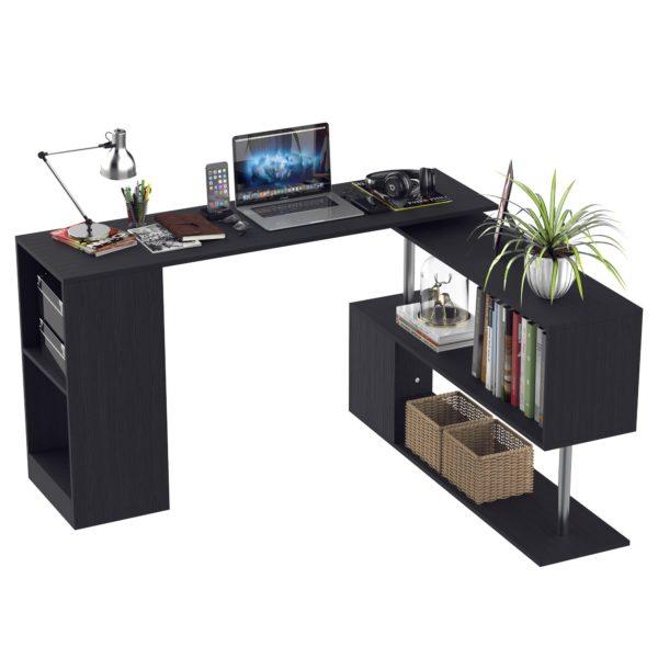 HOMCOM Modern L Shaped Rotating Computer Desk