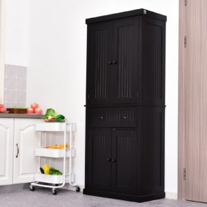 HOMCOM Traditional Freestanding Kitchen Pantry Cabinet Cupboard