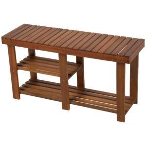 HOMCOM Wood Shoe Bench 3-tier Acacia Wood
