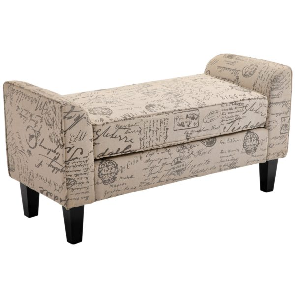 "HomCom 41"" Modern Linen Armed Sofa Seat"