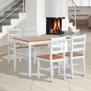 HomCom 5 Piece Solid Pine Wood Table