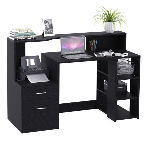 """HomCom 61"""" Modern L-Shaped Office Workstation Computer"""