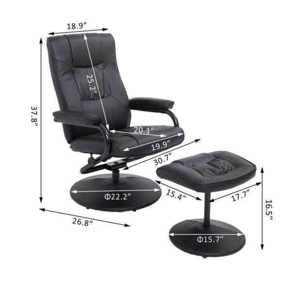 HomCom Ergonomic Recliner Faux Leather Lounge Armchair
