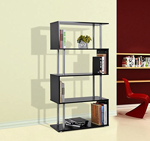 HomCom Wooden Shelf Rack Modern S-Shaped 5