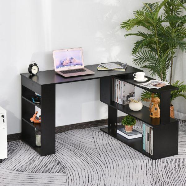 Homcom 360° Rotating Desk L Shaped Writing