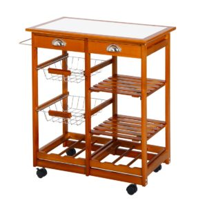 """Homcom Cart For Kitchen 30"""" Portable Rolling"""