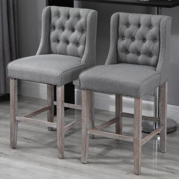 "Homcom Gray Bar Stool Furniture 40"" Tufted"
