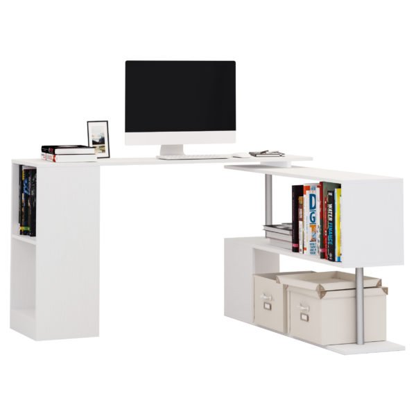 Homcom L Shaped Storage Rotating Desk Modern