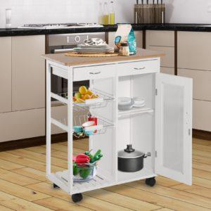 Homcom Movable Kitchen Island Cart For Kitchen
