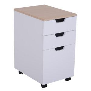 "Homcom Rolling File Cabinet 24"" 3-Drawer Modern"
