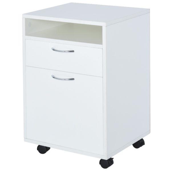 Homcom Rolling File Cabinet Wood Vertical File