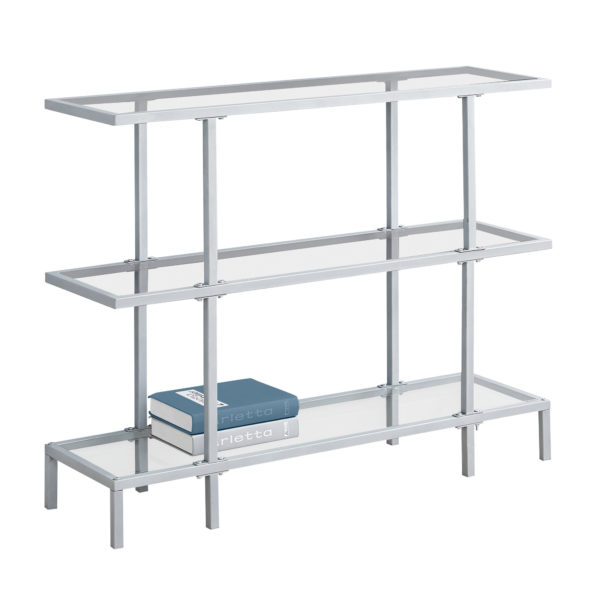 """Monarch 42"""" Contemporary Tempered Glass Top 3-Tier"""