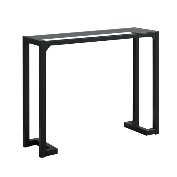 """Monarch 42"""" Contemporary Tempered Glass Top Metal"""
