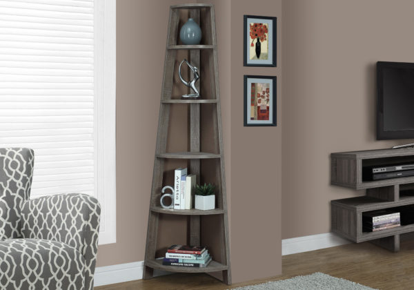 "Monarch 72"" Contemporary 5-Shelf Reclaimed Wood-Look Corner"