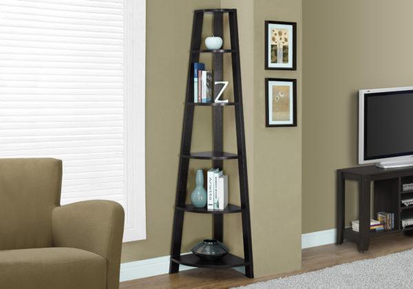 "Monarch 72"" Contemporary 5-Shelf Wood Grain-Look Corner"