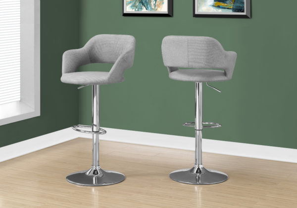 Monarch Contemporary Linen Curved Seat Back Chrome