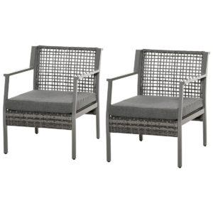 Outsunny 2pc Rattan Wicker Arm Sofa Chair