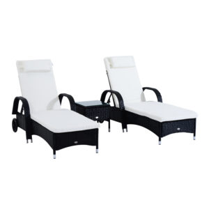 Outsunny 3 Piece Rattan Wicker Adjustable Chaise