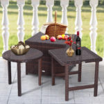 Outsunny 3 Piece Rattan Wicker Outdoor Compact