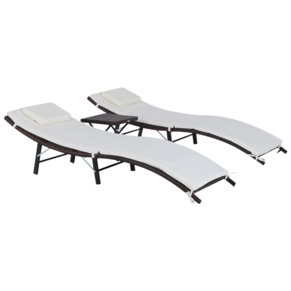 Outsunny 3 Pieces Patio Lounge Chair Set